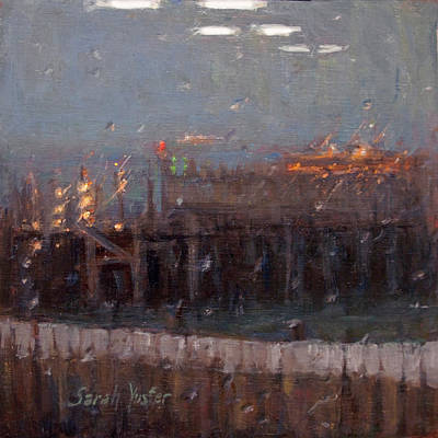 Painting - Stormy Harbor Commute #4 Docking by Sarah Yuster