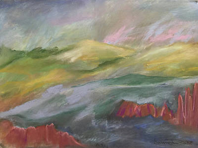 Pastel - Stormy Hills by Barbara Jacobs