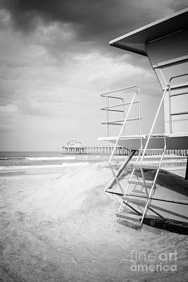 Shack Photograph - Stormy Huntington Beach Black And White Photo by Paul Velgos
