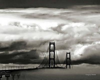 Riverstone Gallery Photograph - Stormy Mackinac Bridge by Gregory Steele