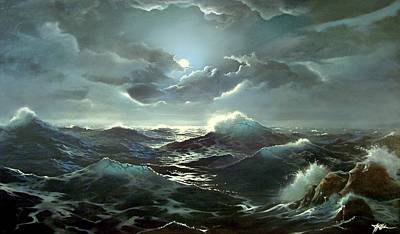 Painting - Stormy Night At Sea by James R Hahn