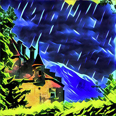 Stormy Night At The Chateau  Art Print