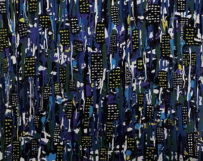 Art Print featuring the painting Stormy Night In The City by Teresa Wing