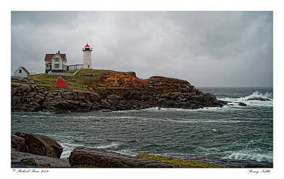 Art Print featuring the photograph Stormy Nubble by Richard Bean