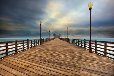 Stormy Oceanside Sunset Art Print by Larry Marshall