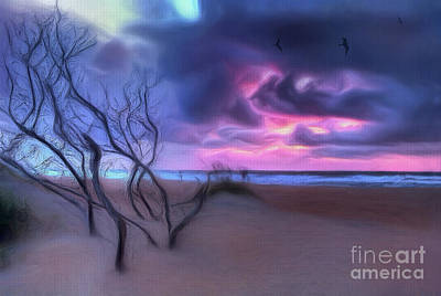 Painting - Stormy Outer Banks Sunrise And Bush Ap by Dan Carmichael