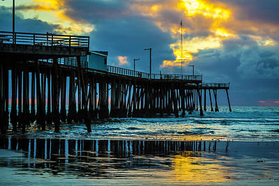 Pismo Beach Photograph - Stormy Pier Sunset by Garry Gay
