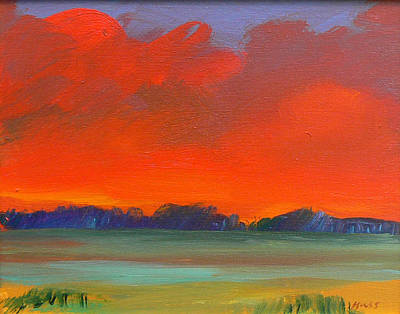 Wall Art - Painting - Stormy Red Sky by Sally Huss
