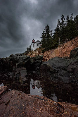 Photograph - Stormy Reflections At Bass Harbor Head Light by Jesse MacDonald