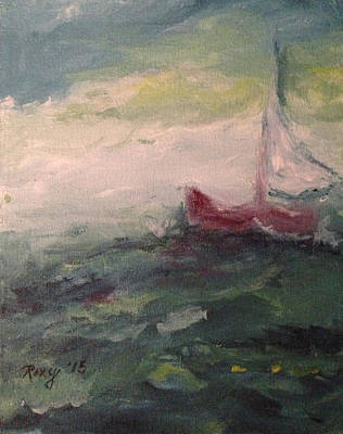 Stormy Sailboat Original by Roxy Rich