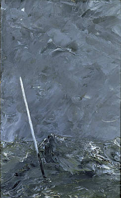 August Strindberg Painting - Stormy Sea. Buoy Without Top Mark by August Strindberg