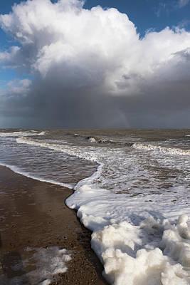 Photograph - Stormy Sea Foam  by Gary Eason
