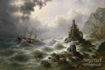 Lighthouse Painting - Stormy Sea With Lighthouse On The Coast by Celestial Images