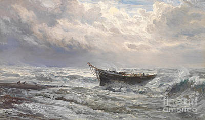 Sailboat Ocean Painting - Stormy Seas by Henry Moore