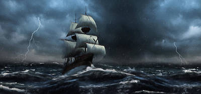 Painting - Stormy Seas - Nautical Art by Jordan Blackstone