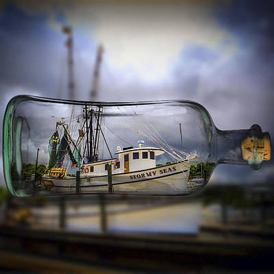 Art Print featuring the photograph Stormy Seas - Ship In A Bottle by Bill Barber