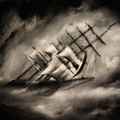 Digital Art - Stormy Seas Ship by Michele Carter