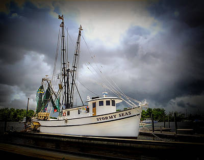 Photograph - Stormy Seas Shrimp Boat by Terry Shoemaker