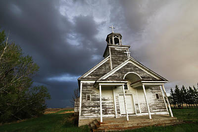 Photograph - Stormy Sk Church by Ryan Crouse