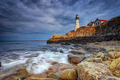 Stormy Skies At Portland Head Art Print