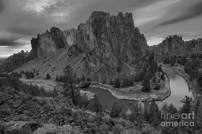 Photograph - Stormy Skies Over Smith Rock - Black And White by Adam Jewell