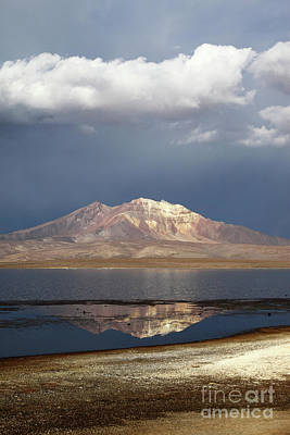 Photograph - Stormy Skies Quisi Quisini Volcano And Lake Chungara Chile by James Brunker