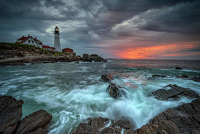 Photograph - Stormy Sunrise At Portland Head by Rick Berk