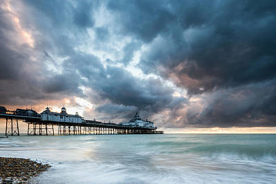 Photograph - Stormy Sunrise Over Eastbourne Pier by Will Gudgeon