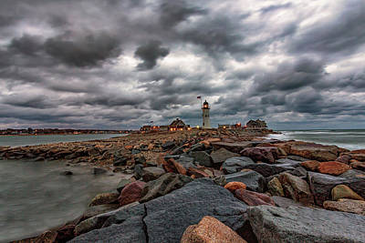 Photograph - Stormy Sunrise Over Scituate Lighthouse by Brian MacLean