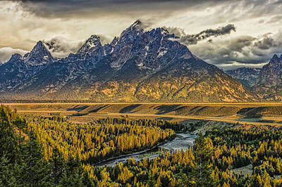 Stormy Sunrise Over The Grand Tetons And Snake River Art Print