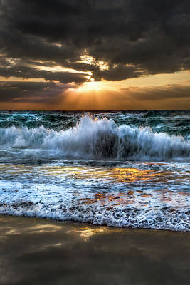 Photograph - Stormy Sunrise Waves by Debra and Dave Vanderlaan
