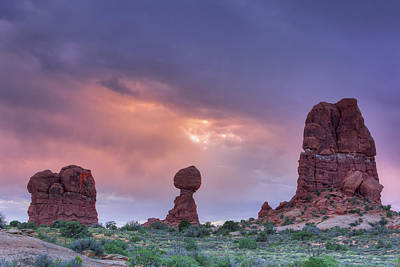 Photograph - Stormy Sunset In The Desert by David Watkins