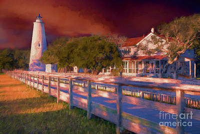 Painting - Stormy Sunset On Ocracoke Outer Banks Lighthouse Ap by Dan Carmichael