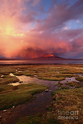 Photograph - Stormy Sunset Over Bofedales And Lake Chungara Chile by James Brunker