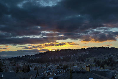 Stormy Sunset Over Happy Valley Oregon Art Print by David Gn