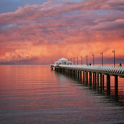 Photograph - Stormy Sunset Over Moreton Bay And The Shorncliffe Pier by Keiran Lusk