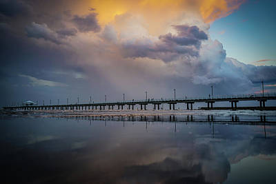Photograph - Stormy Sunset Reflections At Shorncliffe Pier by Keiran Lusk
