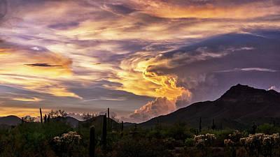 Photograph - Stormy Sunset Skies In The Sonoran  by Saija Lehtonen