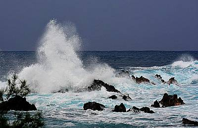 Photograph - Stormy Surf At Laupahoehoe by Lori Seaman