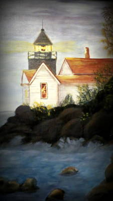 Painting - Stormy Waters Lighthouse by Kay Novy