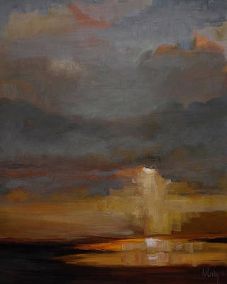 Painting - Stormy Waterscape Sunset Seascape Marsh Painting by Gray Artus