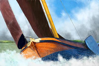 Digital Art - Stormy Weather Skutsje Sailing Ship by Jan Brons
