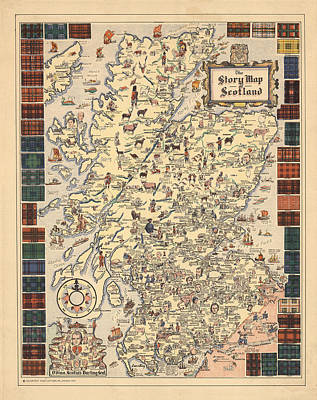 Drawings Royalty Free Images - Story Map of Scotland - Illustrated Map - Historical Map - Pictorial Map Royalty-Free Image by Studio Grafiikka