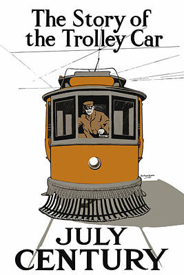 Drawing - Story Of The Trolley - Vintage Americana by Mark E Tisdale