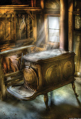 Stove - A Warm Cozy Stove Print by Mike Savad