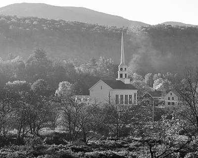 Photograph - Stowe Community Church Black And White by Dan Sproul