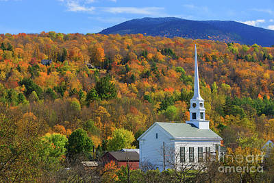 Stowe Community Church, Vermont Art Print by Henk Meijer Photography