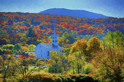 Art Print featuring the photograph Stowe Vermont Church In Fall by Jeff Folger