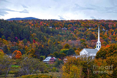 Stowe Vermont In Autumn Art Print by Catherine Sherman