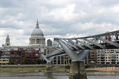 Photograph - Stpauls Cathedral And The Millennium Bridge In London England by Gregory Dyer